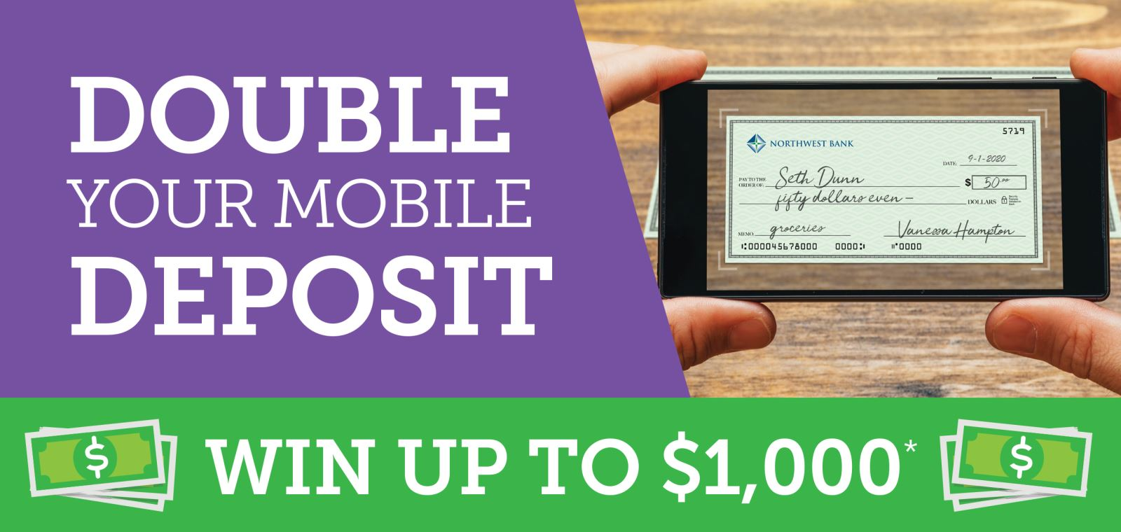 Double Your Mobile Deposit. Win Up To $1,000*