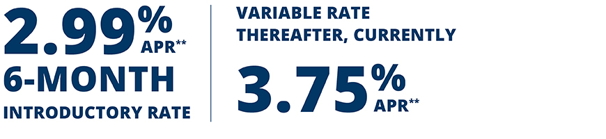 2.99% APR** 6-Month Intro Rate, Variable rate thereafter, currently 3.75%ARP**