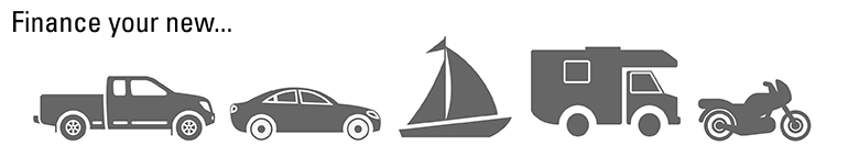 image of auto, camper, boat & rv icons stating finance or refinance your loan - we make it easy
