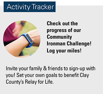 Image of a wrist with a fitbit stating check out the progress on our community ironman challenge.