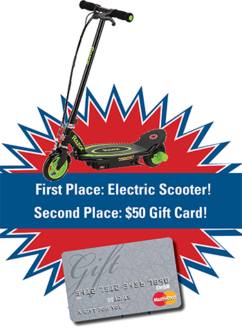 image of an electric scooter and gift card