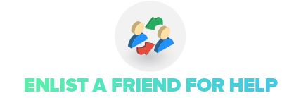 image of two people icons stating enlist a friend for help