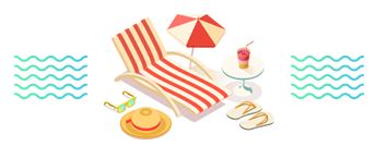 Image of a lawn chair and beach umbrella