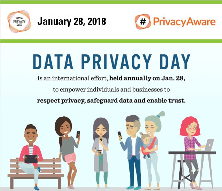 Image of cartoon people using technology and talking about Data Privacy Day