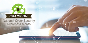 Image of a hand using a tablet with the National Cyber Security Awareness Month logo