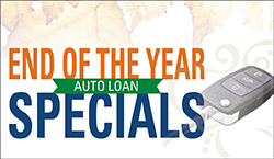 Image of a vehicle key stating end of the year auto loan specials