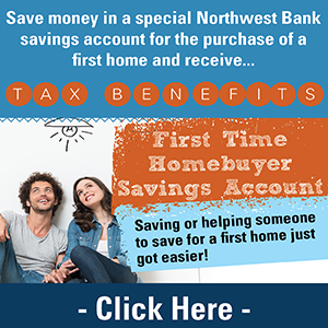 image of a couple stating save money in a special Northwest Bank savings account for a 1st home