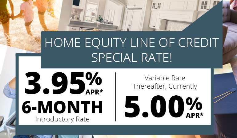 Image of HELOC Special: 3.95% APR 6 month intro rate. Variable rate thereafter currently 5% APR.