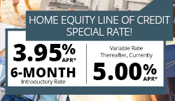 Image of HELOC Special: 3.95% APR 6 month intro rate; variable rate thereafter currently 5% APR.