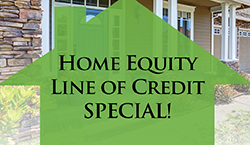 Image of a home stating home equity line of credit special
