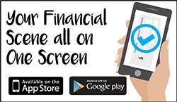 Image of a cartoon hand holding a smartphone stating your financial scene all on one screen