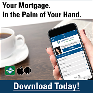 Image of a hand holding a smartphone stating Your mortgage. In the palm of your hand. Download today