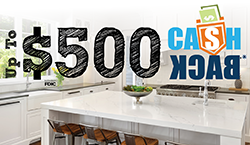 Image of a kitchen stating up to $500 cash back*