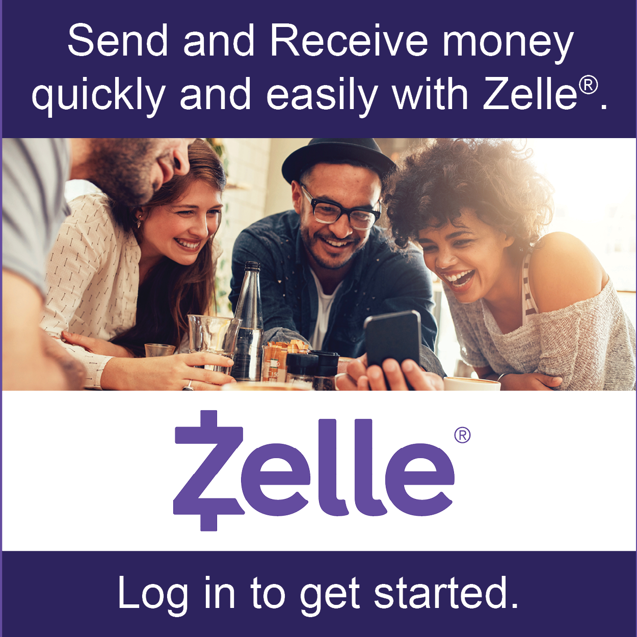 image of send. receive. split the bill. zelle is now available!