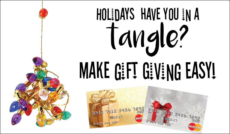 Image of gift cards, make gift giving easy this year.
