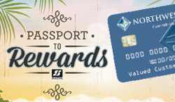 Image of a debit card with text Passport to Rewards