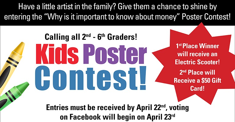 Image of crayons stating 2-6th graders can enter a poster contest to win