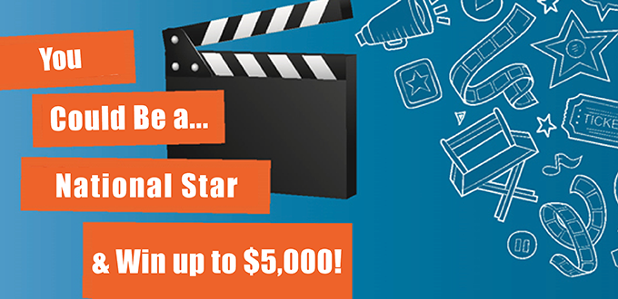 image of a movie clipboard stating you could be a national star & win up to $5,000!