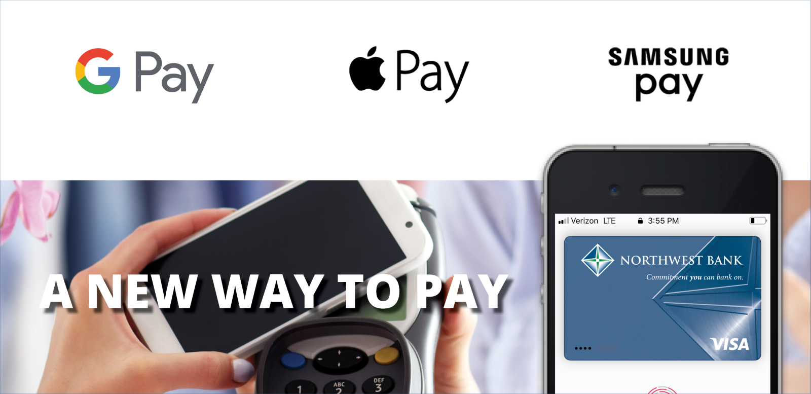 Image of mobile wallets: Google Pay, Apple Pay and Samsung Pay