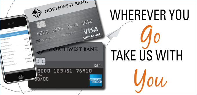 Image of credit cards and mobile phone stating wherever you go take us with you
