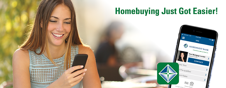 Image of a lady holding her cell phone stating home buying just got easier