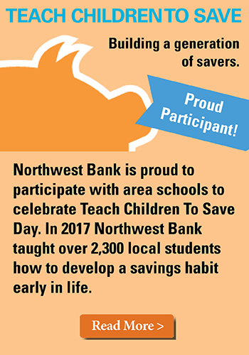Image of a piggy bank stating Northwest Bank is proud to participate in teach children to save day.