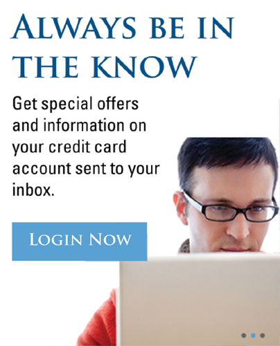 Image link of a man on a laptop stating always be in the know get special offers on your credit card