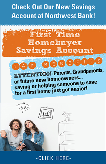 image of a young couple stating check out our new savings account 1st time homebuyer savings account