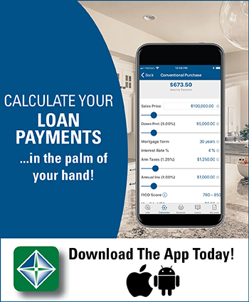 Image of the mortgage app stating calculate your loan payments in the palm of your hand
