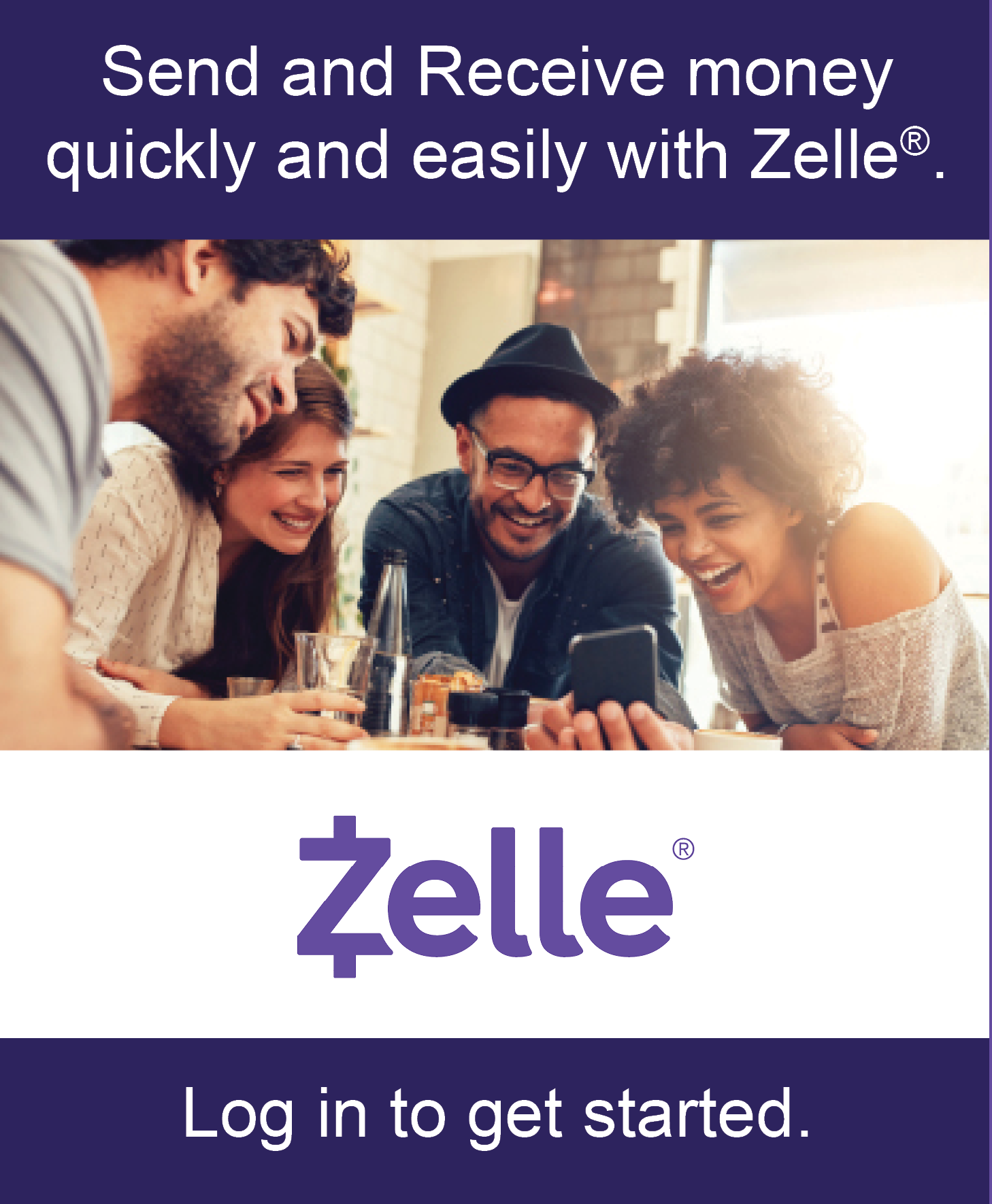 Image of a group of friends with the text send and receive money quickly and easily with Zelle