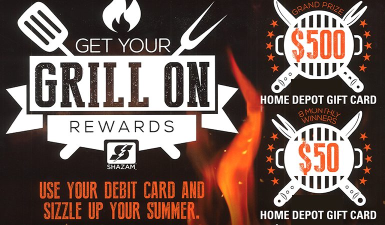 Image of Shazam rewards, use your debit card for chances to win a $500 or $50 Home Depot gift card