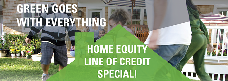 Image of family playing soccer stating green goes with everything home equity line of credit special
