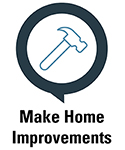 Image of a hammer icon stating make home improvements