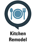 Image of a table setting icon stating kitchen remodel