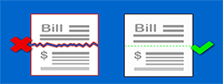 Image of a bill pay image showing you need the tear off section when taking the picture