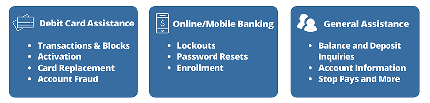 image of blue boxes stating we can help with debit card & general assistance, online/mobile banking