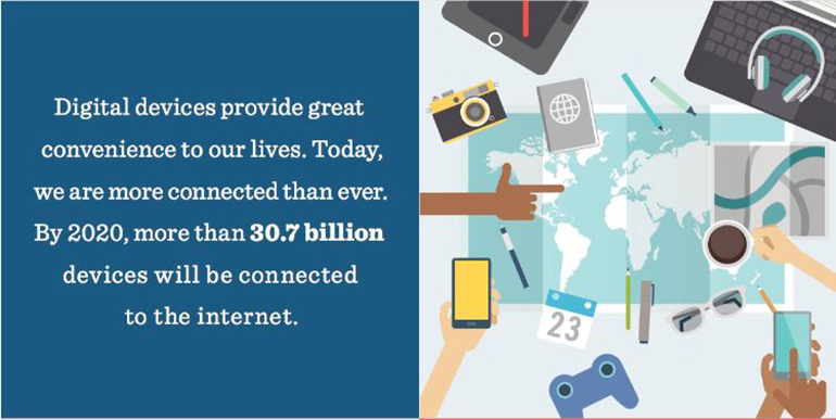 Image of a stat that says by 2020 more than 30.7 billion devices will be connected to the internet.
