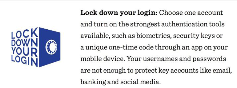 Image talking about lock down your login using unique biometrics