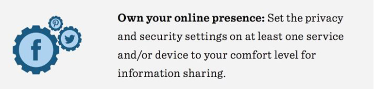Image about setting privacy and security settings to a comfort level for information sharing