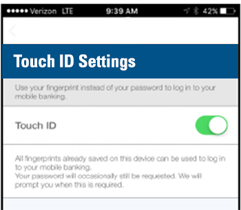Image of the touch id toggle