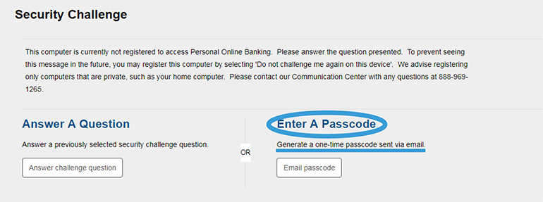 Image of the security challenge internet banking page where you can enter a passcode