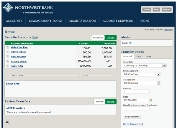 Image of the home page screen within business internet banking