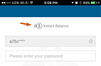 image of instant balance icon in mobile banking