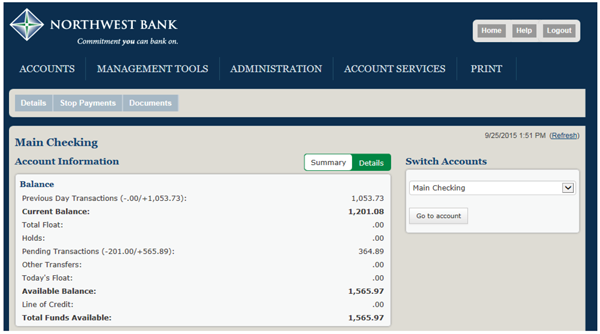 Image of the main checking screen within business internet banking
