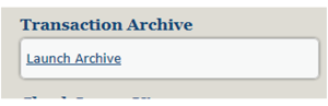 Image of transaction archive box showing a link to launch archive within Business Internet banking