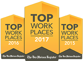 Image of top workplaces logos showing years 2015, 2016 and 2017