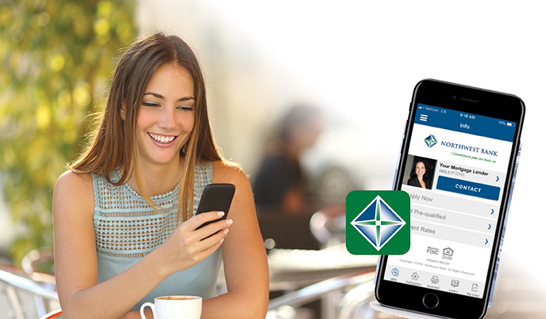 Image of a lady holding her cell phone and showing a cell phone with the Northwest Bank mortgage app