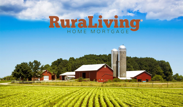 Image of a farm with the RuraLiving Logo