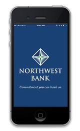 Image of phone with Northwest Bank logo on it
