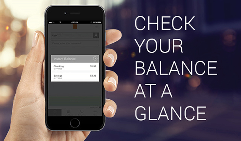 Image of mobile banking on a cell phone stating check your balance at a glance